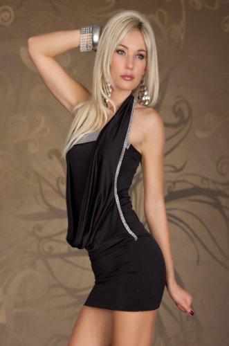 Sexy Damen Sommer Party Kleid Cocktail Minikleid Partykleid Neckholder Steinchen 3 Verschiedene Farben schwarz -