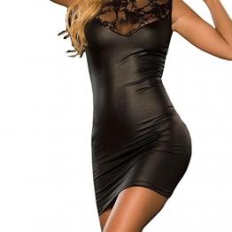 Sexy Dessous, Fortan Damen mit V-Ausschnitt Transparent Häkelspitze-Leder-Wäsche (EU=38, Schwarz) -