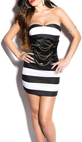 Sexy KouCla Bandeau-Minikleid im Marine-Look - 7 Farben (Gr. 34,36,38,40) Bustier Stripes Abendkleid Partykleid (8 - 34/36, Schwarz/Weiß) - 1