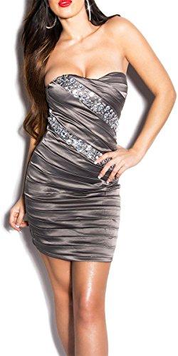 Sexy KouCla Bandeau-Minikleid mit Steinen besetzt - 4 Farben (Gr. 34,36,38,40) Abendkleid Partydress (10 - 36/38, Grau) - 1