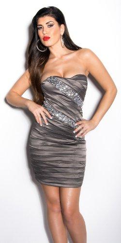 Sexy KouCla Bandeau-Minikleid mit Steinen besetzt - 4 Farben (Gr. 34,36,38,40) Abendkleid Partydress (10 - 36/38, Grau) - 3