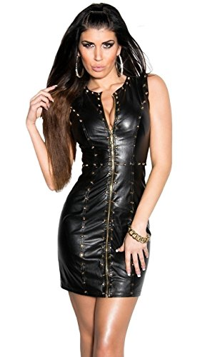 Sexy KouCla Minikleid Party Kleid Leder Look Clubwear (M /38) - 1