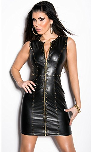 Sexy KouCla Minikleid Party Kleid Leder Look Clubwear (M /38) - 3
