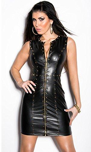 Sexy KouCla Minikleid Party Kleid Leder Look Clubwear (M /38) - 3