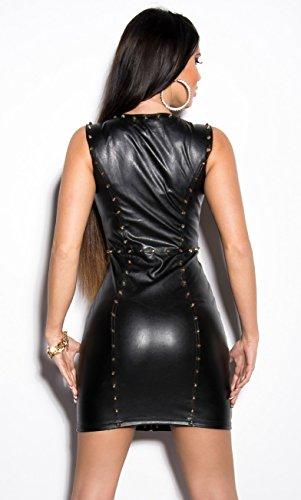 Sexy KouCla Minikleid Party Kleid Leder Look Clubwear (S / 36) - 2