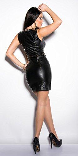 Sexy KouCla Minikleid Party Kleid Leder Look Clubwear (S / 36) - 5