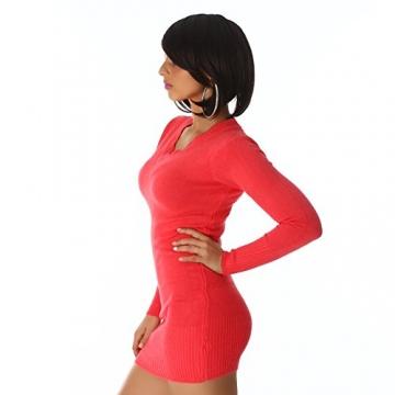 Sexy Longpulli Pullover Minikleid mit V-Auschnitt Einheitsgr. 34,36 und 38 -verschiedene Farben (one size, Apricot) -