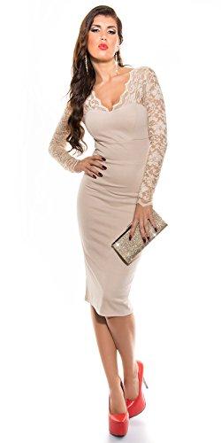 Sexy Midi-Dress mit Spitze und V-Auschnitt XS - 4