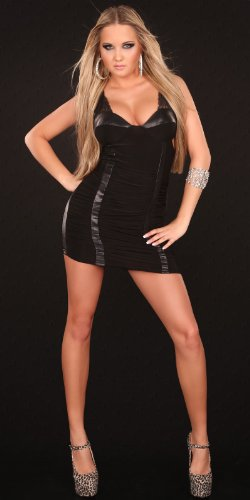 Sexy minidress, gathered with leatherlook and lace Koucla by In-Stylefashion SKU 0000K8010002 - 3