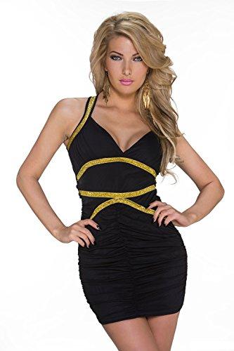 Sexy Minikleid mit Goldfarbigen Verzierungen XS - 1