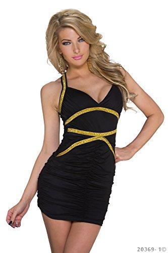 Sexy Minikleid mit Goldfarbigen Verzierungen XS - 2