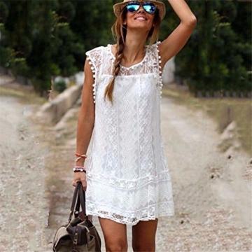 Sexy neue Sommer-weisse Minikleid-Frauen-Spitze-Kleid Beilaeufiges Sleeveless Partei-Kleid - 3