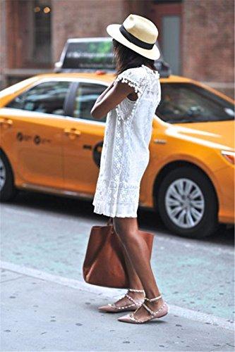 Sexy neue Sommer-weisse Minikleid-Frauen-Spitze-Kleid Beilaeufiges Sleeveless Partei-Kleid - 5