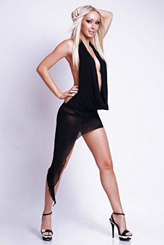 Sexy Nylon Kleid Wasserfallausschnitt in 4 Farben 36/38 Schwarz -