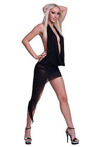 Sexy Nylon Kleid Wasserfallausschnitt in 4 Farben 38/40 Schwarz -