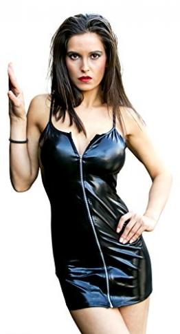 Sexy Partykleid aus Kunstleder / PVC mit Reißverschluss, Schwarz, Wet-Look, Clubwear - X-Small (6-10 UK | 34-38 EU) -