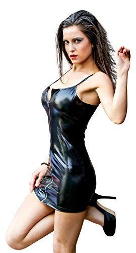 Sexy Partykleid aus Kunstleder / PVC mit Reißverschluss, Schwarz, Wet-Look, Clubwear - X-Small (6-10 UK   34-38 EU) -