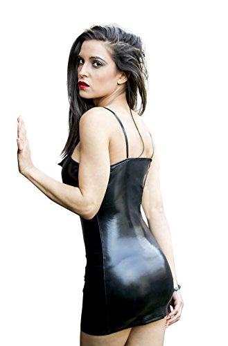 Sexy Partykleid aus Kunstleder / PVC mit Reißverschluss, Schwarz, Wet-Look, Clubwear - Small (10-12 UK   38-40 EU) -