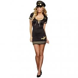 Sexy Pilotin Kostüm Damen Mini Kleid mit Piloten Kappe edel in schwarz gold - 36/38 -