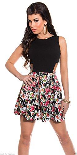 Sexy Sommer Mini Kleid in Floral Print mit Aussparungen und langer Reißverschluss hinten. Gr. Medium, Schwarz - Schwarz - 1