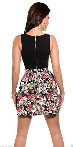 Sexy Sommer Mini Kleid in Floral Print mit Aussparungen und langer Reißverschluss hinten. Gr. Medium, Schwarz - Schwarz - 2