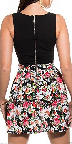 Sexy Sommer Mini Kleid in Floral Print mit Aussparungen und langer Reißverschluss hinten. Gr. Medium, Schwarz - Schwarz - 3