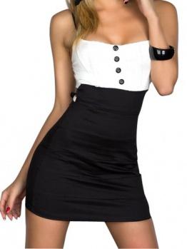 Sexy Trägerlos Ohne armTailliertes Minikleid mit feinem Stretch-Stoff Abendkleid Cocktailkleid in verschiedenen Farben schwarz - 1