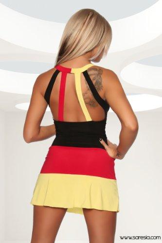 Sexy trendiges Damen Mini-Kleid in den Farben der Deutschland-Flagge Fußball WM (M) - 2