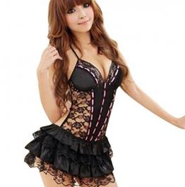 Sexy Unterwäsche Rosennie Damen Spitze Halfter Puppe Kleid (Schwarz) -