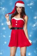 Sexy Weihnachtskleid mit Mütze