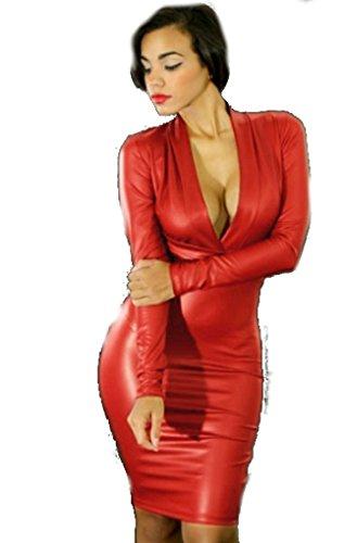 Sexy Wetlook Kleid in rot heisses Clubkleid (S/M) -