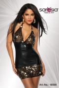 Sexy Wetlook-Kleid mit Pailletten und Rücken-Schnürung