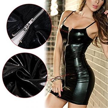 Sexy Wetlook Minikleid Clubwear Stripper Dress Party Kleid Lack Leder mit Zipper und T-String -