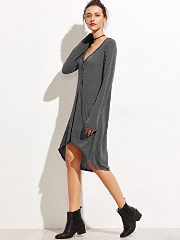 SheIn Damen Tief V Ausschnitt Langarm Casual Kleid mit Abfallendem Saum Grau S -