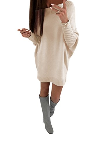 Shelers Damen Casual Pullover Pulli 8 Farben Einfarbig Schulterfrei Strickkleid Frauen Fledermaus Langarm Lose Kurz Minikleid Outwear Sweatkleid Oversized S-XL - 1