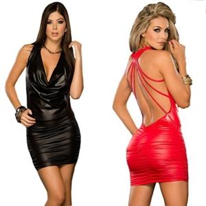 SHIQUNC Ouvert Noir Cuir Sexy Catsuit Douanes Pour Femmes V Costumes, Red - 1