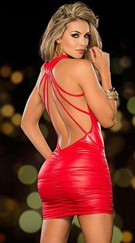 SHIQUNC Ouvert Noir Cuir Sexy Catsuit Douanes Pour Femmes V Costumes, Red - 3