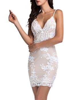 Simplee Apparel Damen Mini Kleid Sexy V-Ausschnitt Rückenfrei Pailletten Späghetti Kleid Party Kleid Weiß - 1