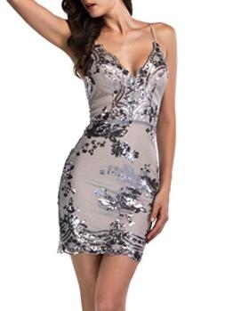 Simplee Apparel Damen Mini Kleid Sexy V-Ausschnitt Rückenfrei Pailletten Späghetti Kleid Party Kleid Grau - 1