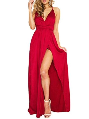 Simplee Apparel Damen Partykleid Sexy V-Ausschnitt Rückenfrei Maxi Lang Satin Träger Kleid Abendkleid Cocktailkleid Rot - 1
