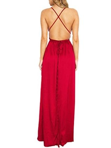 Simplee Apparel Damen Partykleid Sexy V-Ausschnitt Rückenfrei Maxi Lang Satin Träger Kleid Abendkleid Cocktailkleid Rot - 2