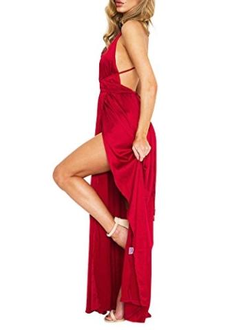 Simplee Apparel Damen Partykleid Sexy V-Ausschnitt Rückenfrei Maxi Lang Satin Träger Kleid Abendkleid Cocktailkleid Rot - 3