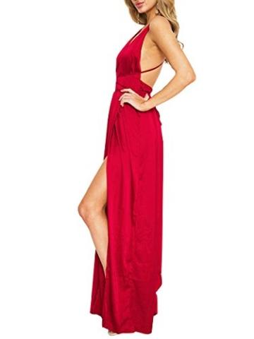 Simplee Apparel Damen Partykleid Sexy V-Ausschnitt Rückenfrei Maxi Lang Satin Träger Kleid Abendkleid Cocktailkleid Rot - 5