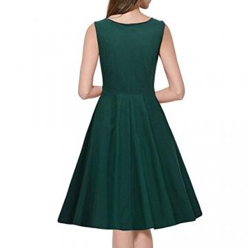 Sitengle Damen Cocktailkleider Ärmellose Sommerkleider mit Knöpfe Rundhals Ausschnitt Rockabilly Big Swing Kleider Abendkleid Ballkleid -