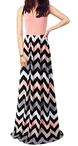 SMITHROAD Damen A-Line Kleid Bohemien Aufdruck Print Gestreift Sommerkleid Tailliert Dekolletee Armellos Loose Fit Lang Pink Gr.46/48 -