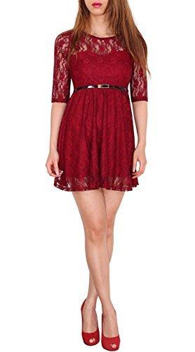 SODACODA 3/4-Arm Damen Prinzessin süßes Spitzenkleid Partykleid Ballkleid Minikleid (Wein Rot, M) - 1