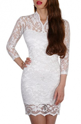 SODACODA® Sexy Spitzen Mini Kleid mit 3/4-langen Ärmeln und V-Neck , Weiß , L (EU 40) - 1
