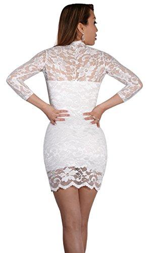 SODACODA® Sexy Spitzen Mini Kleid mit 3/4-langen Ärmeln und V-Neck , Weiß , L (EU 40) - 2