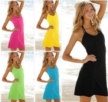 SodaCoda Strand Kleid - Ärmellos - Figurbetonendes Abend Party Kleidchen (Orange, Einheitsgröße S-XL) - 2