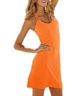 SodaCoda Strand Kleid - Ärmellos - Figurbetonendes Abend Party Kleidchen (Orange, Einheitsgröße S-XL) - 1